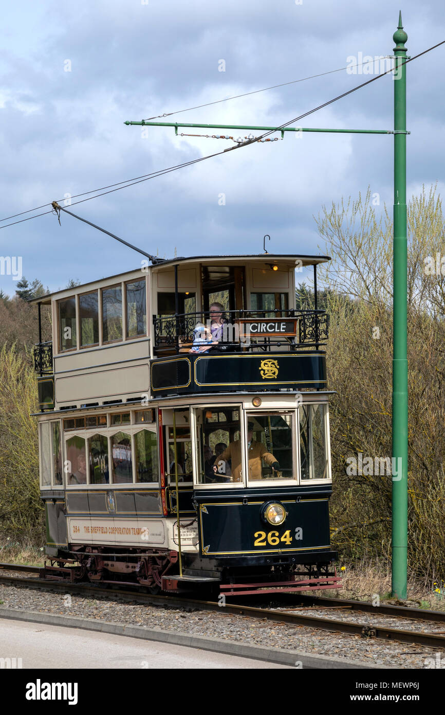An old trolley bus at Beamish Open Air Museum in the northeast of England. - Stock Image