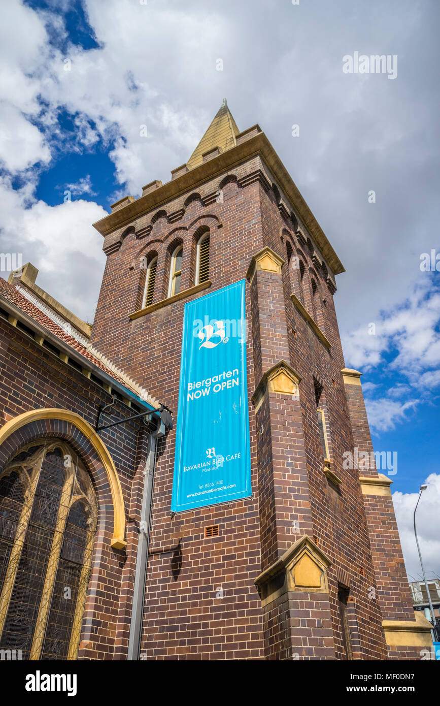 the former St Andrew's Uniting Church in Parramatta is now a Bavarian Bier Café, Parramatta, Greater Western Sydney, New South Wales, Australia - Stock Image