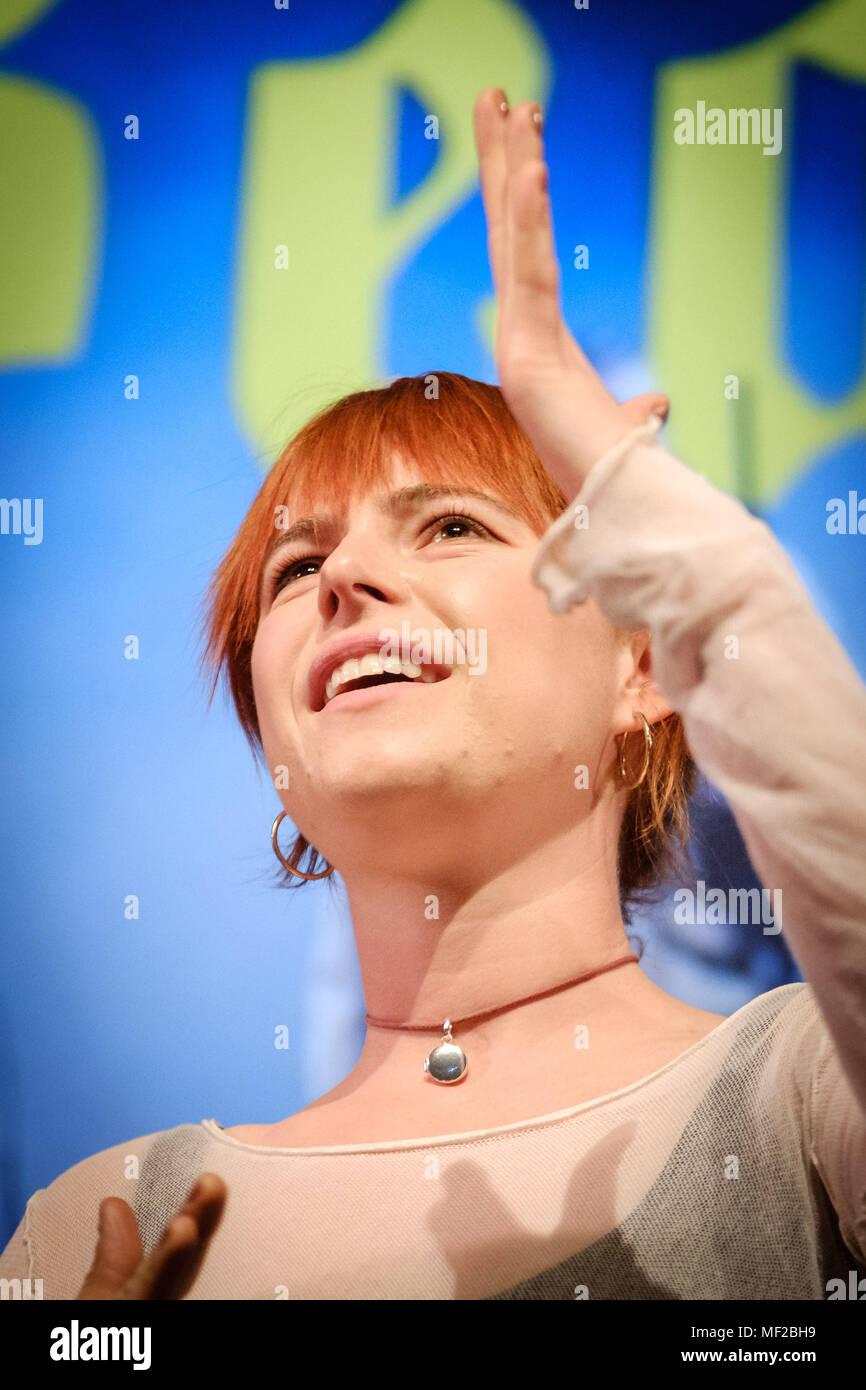 London, UK. 23rd April 2018. Jessie Buckley appears on Mark Kermode Live in 3D on Monday 23 April 2018 held at BFI Southbank, London. Pictured: Jessie Buckley. Picture by: Julie Edwards Credit: Julie Edwards/Alamy Live News - Stock Image