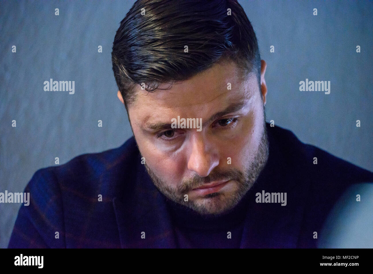 Riga, Latvia. 24.04.2018. RIGA, LATVIA. Maris Verpakovskis, during press conference of former Latvian professional football player Kaspars Gorkss, candidate for LFF president press conference before elections for President of Latvian Football Federation. Credit: Gints Ivuskans/Alamy Live News - Stock Image