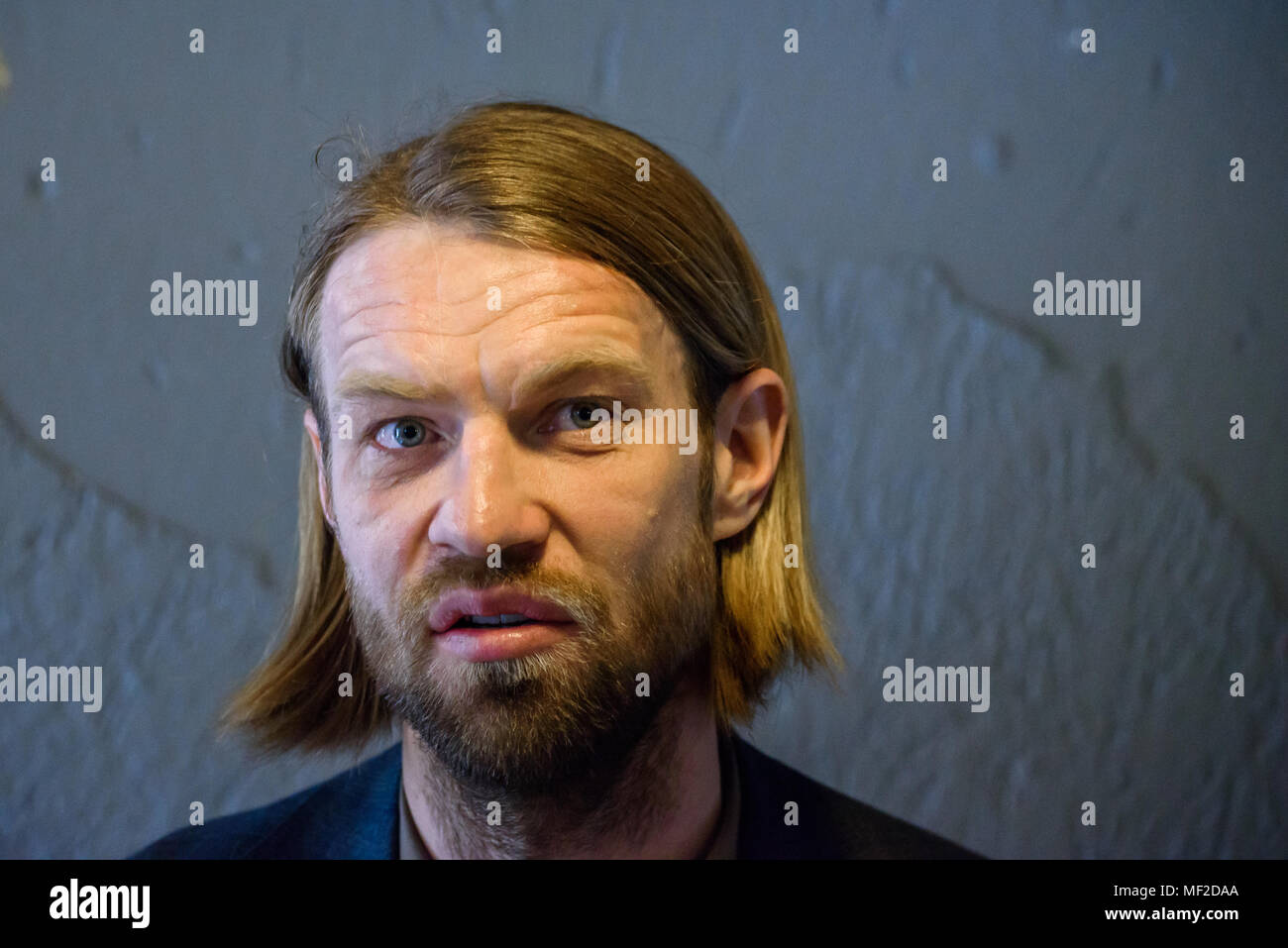 24.04.2018. RIGA, LATVIA. Former professional football player Kaspars Gorkss, candidate for LFF president press conference before elections for President of Latvian Football Federation. - Stock Image