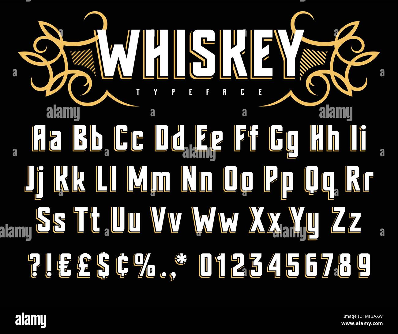 Vector Alphabet In Vintage Style Old Whiskey Label Font Uppercase
