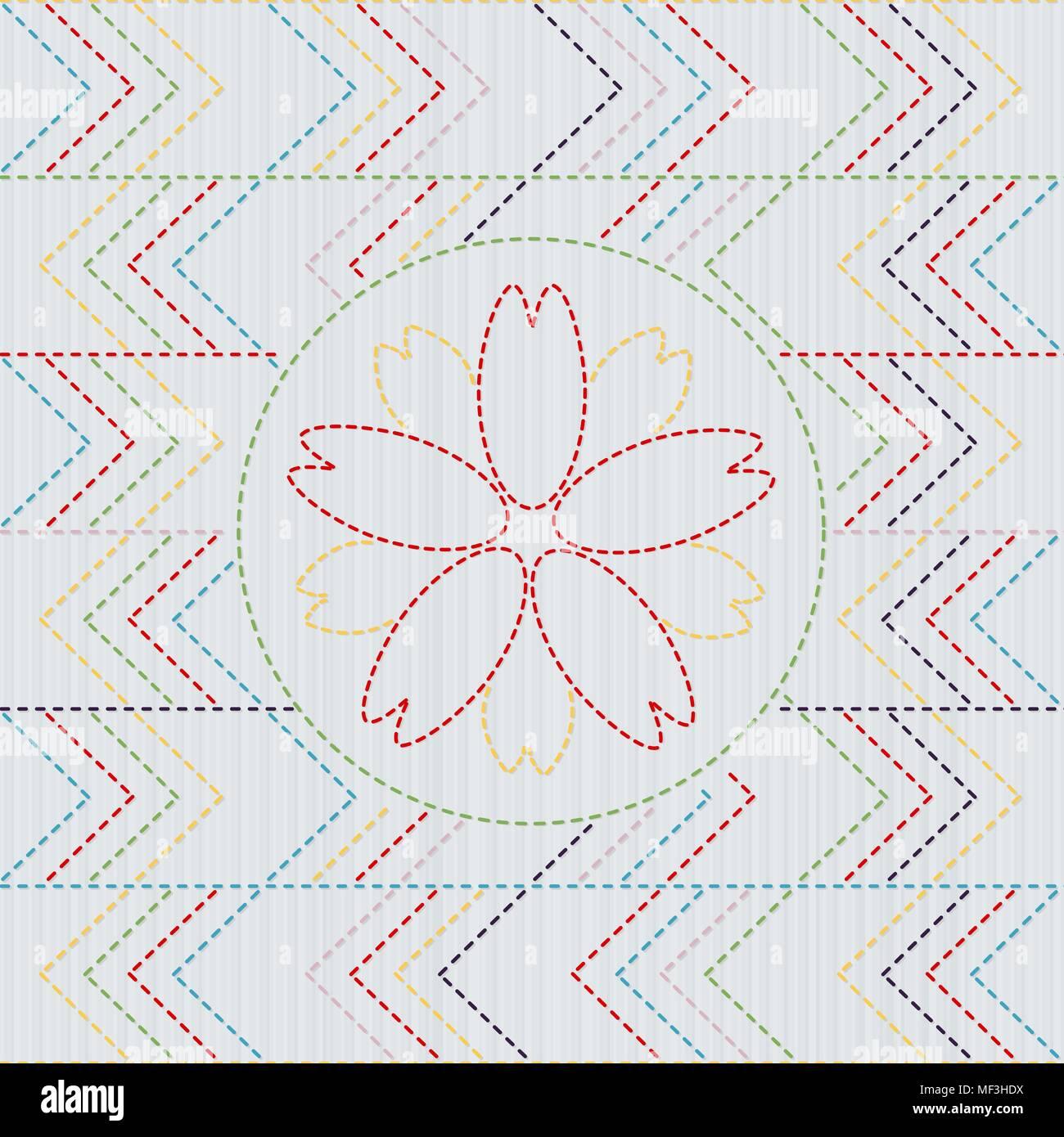 Sashiko. Abstract seamless pattern. Sakura flower in the frame ...