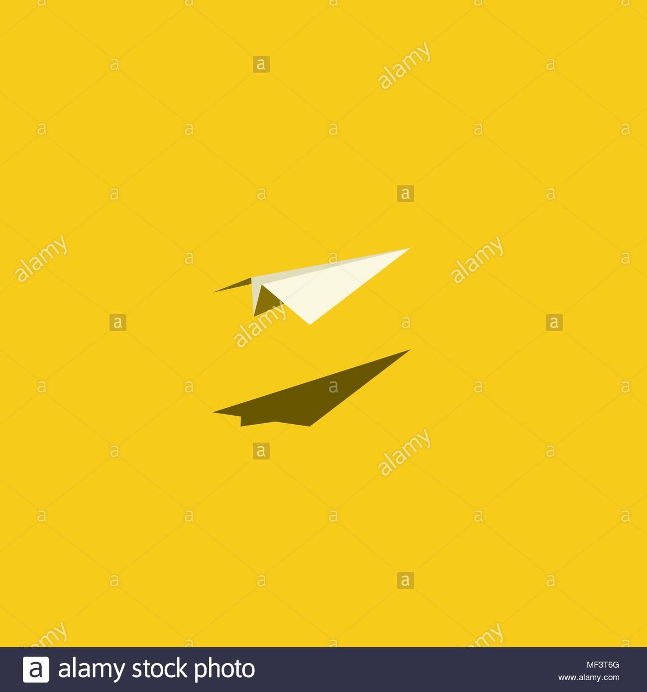 Paper Plane Vector Illustration On Bright Yellow Background Symbol