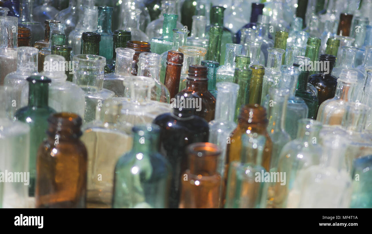 Old Glass Bottles Part - 23: Lots Of Vintage, Old Glass Bottles, Variety Colors, White, Green, Blu,  Brown, Textur, Background