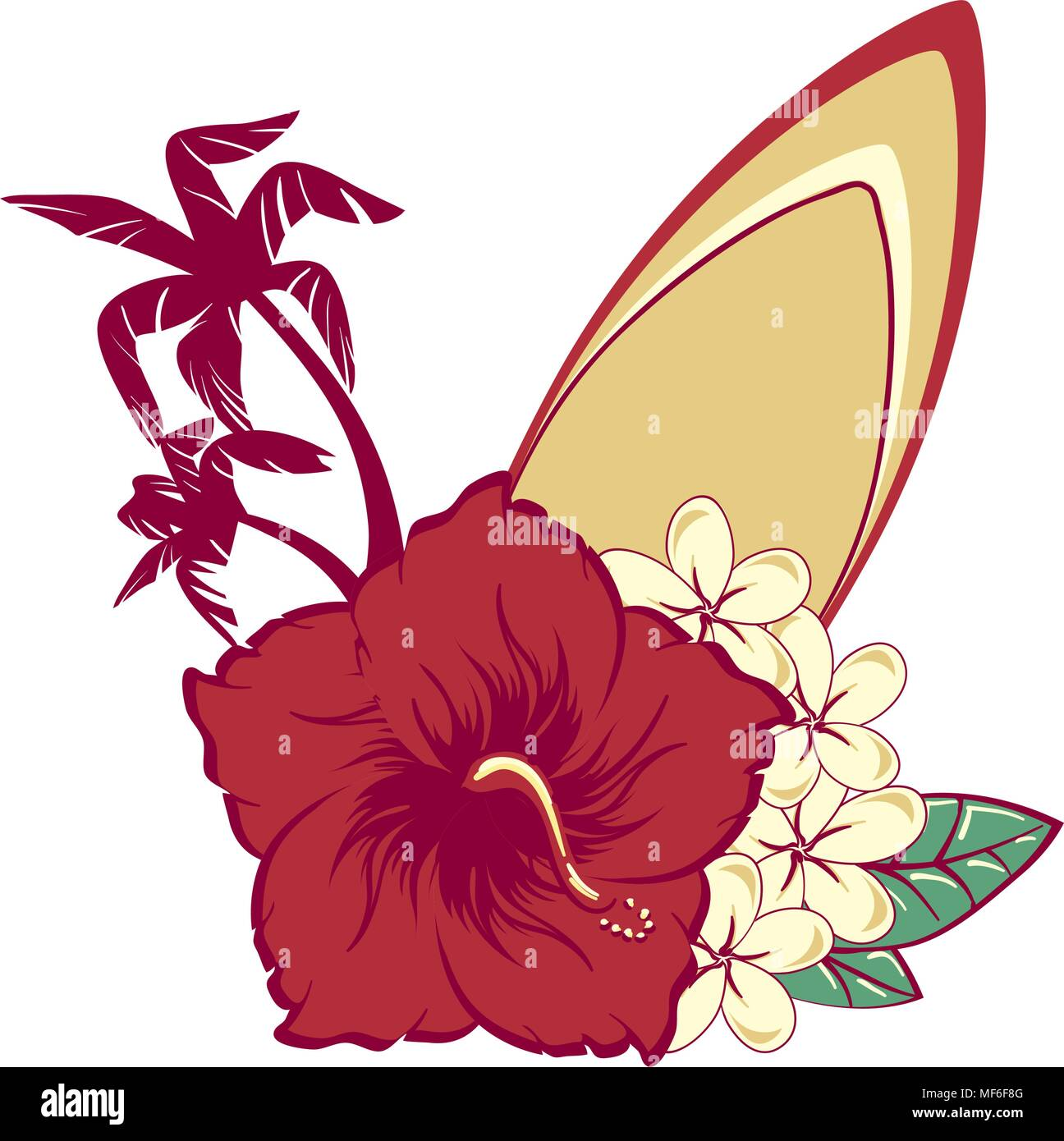 Surfboard in hawaiian flowers bouquet hibiscus and plumeria and ...