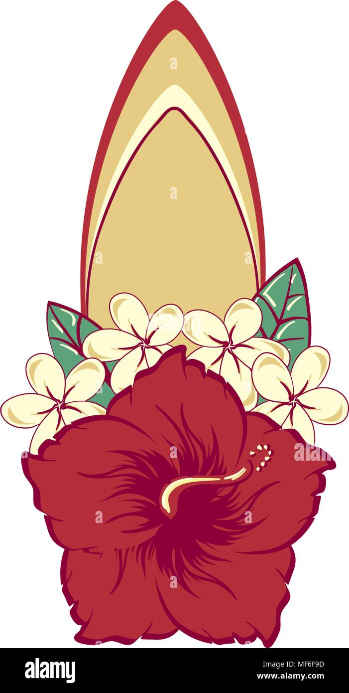 Surfboard in hawaiian flowers bouquet hibiscus and plumeria stock surfboard in hawaiian flowers bouquet hibiscus and plumeria izmirmasajfo Gallery
