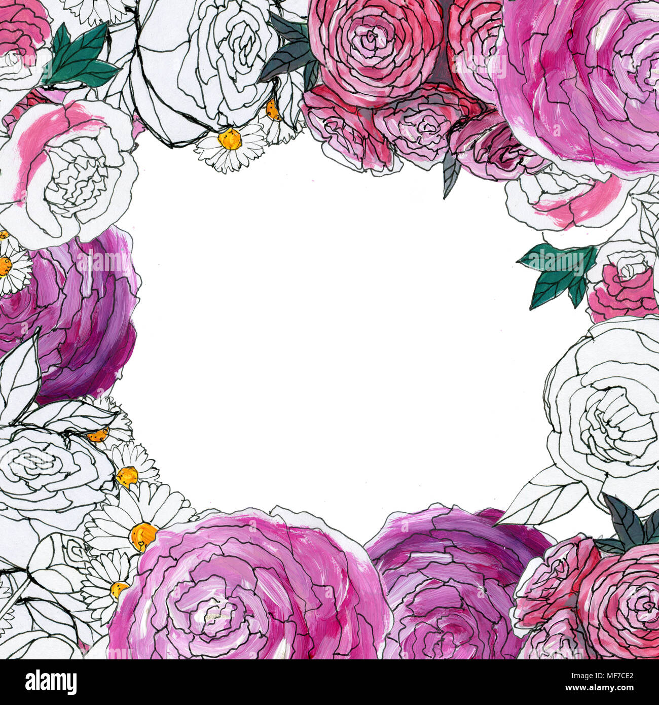 Watercolor Floral Background Hand Painted Border Of Flowers Good