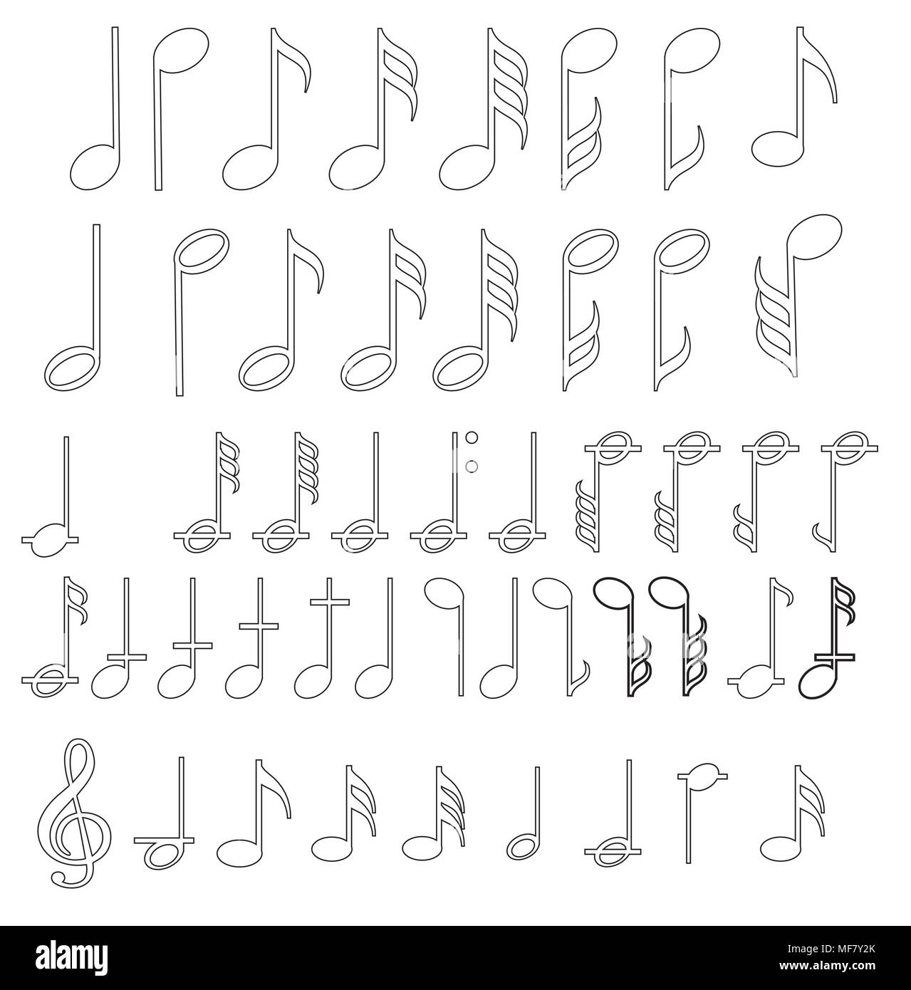 Music Note Background With Different Music Symbols Stock Vector Art