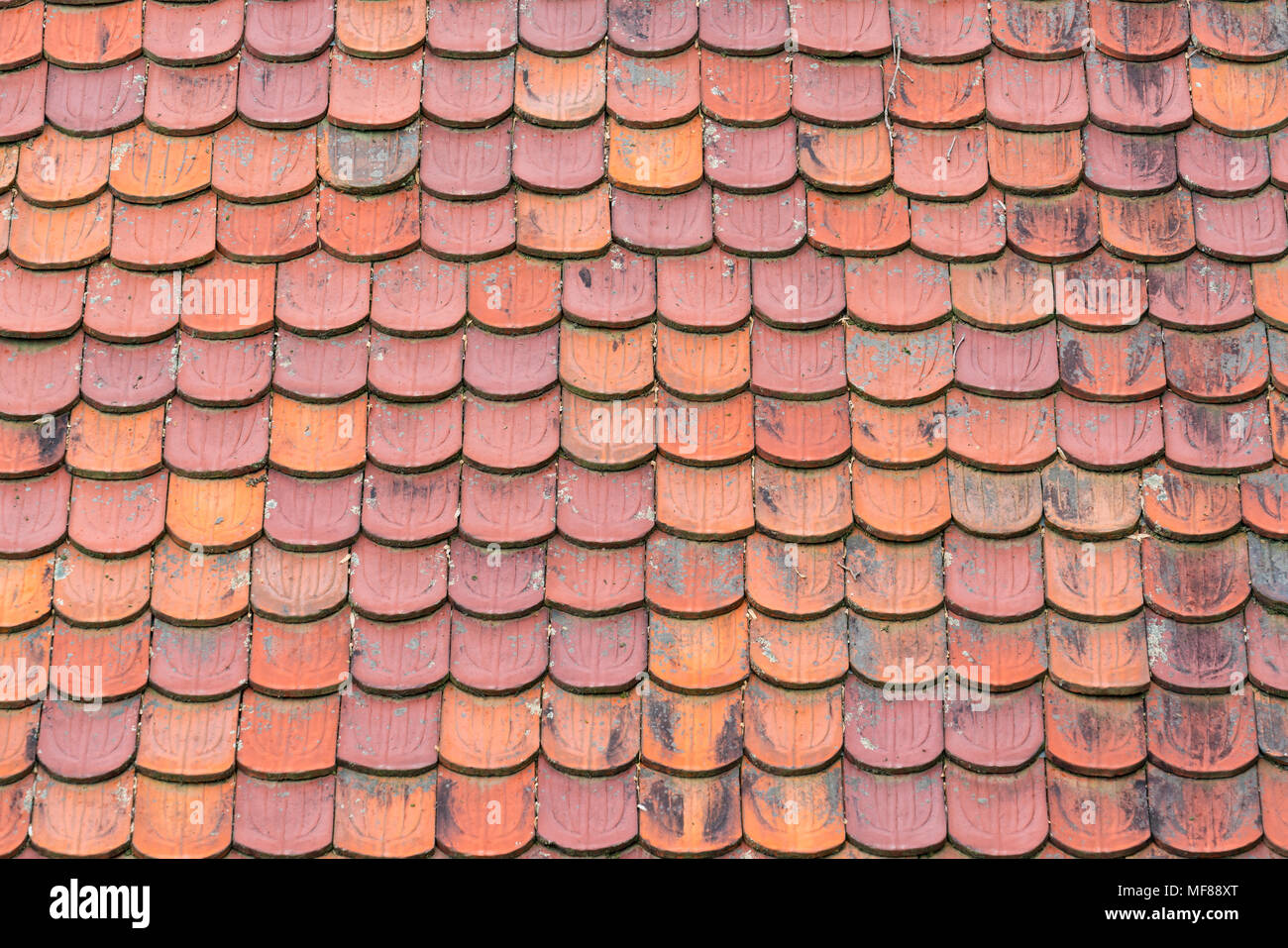 Terracotta clay roof shingles background Stock Photo: 181506160 - Alamy