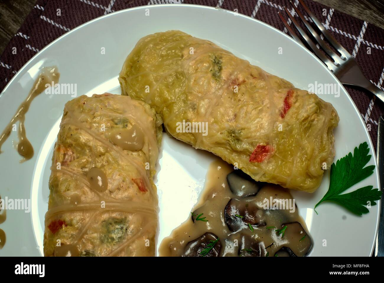 Appetizing chicken rolls with stuffing
