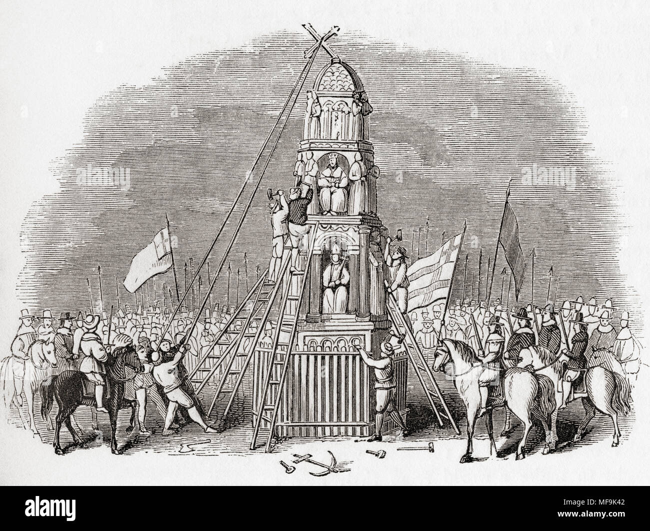 Puritans destroying the Cheapside Cross aka Eleanor Cross, London, England  in 1643. From Old England: A Pictorial Museum, published 1847.