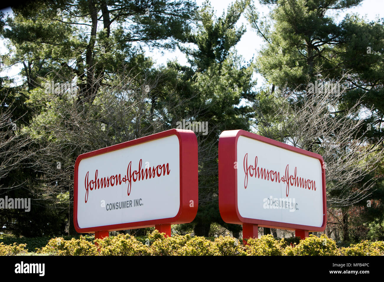 A logo sign outside of a facility occupied by the Johnson & Johnson consumer division in Fort Washington, Pennsylvania on April 22, 2018. - Stock Image
