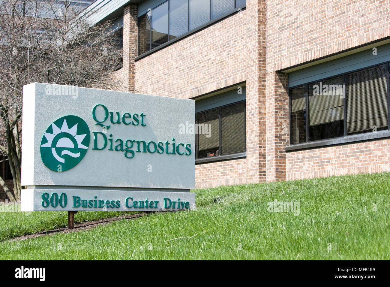 A logo sign outside of a facility occupied by Quest Diagnostics in Horsham, Pennsylvania on April 22, 2018. Stock Photo