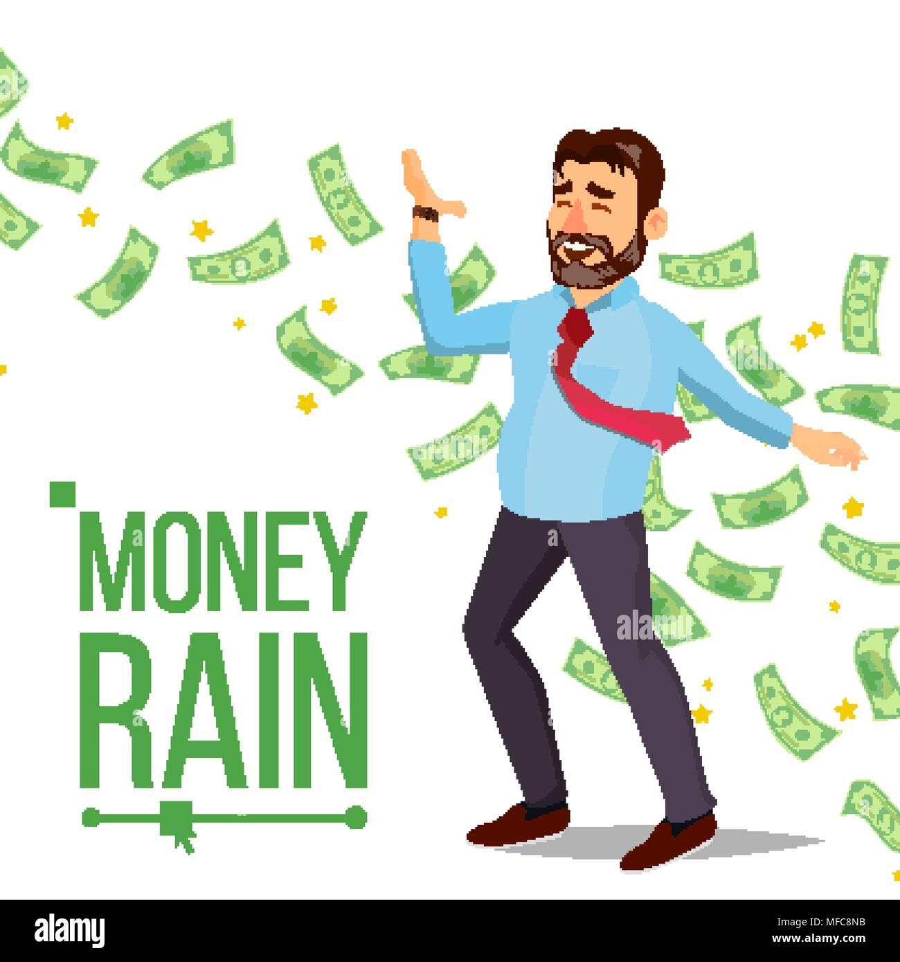 dollar rain businessman vector manager and under money rain cash