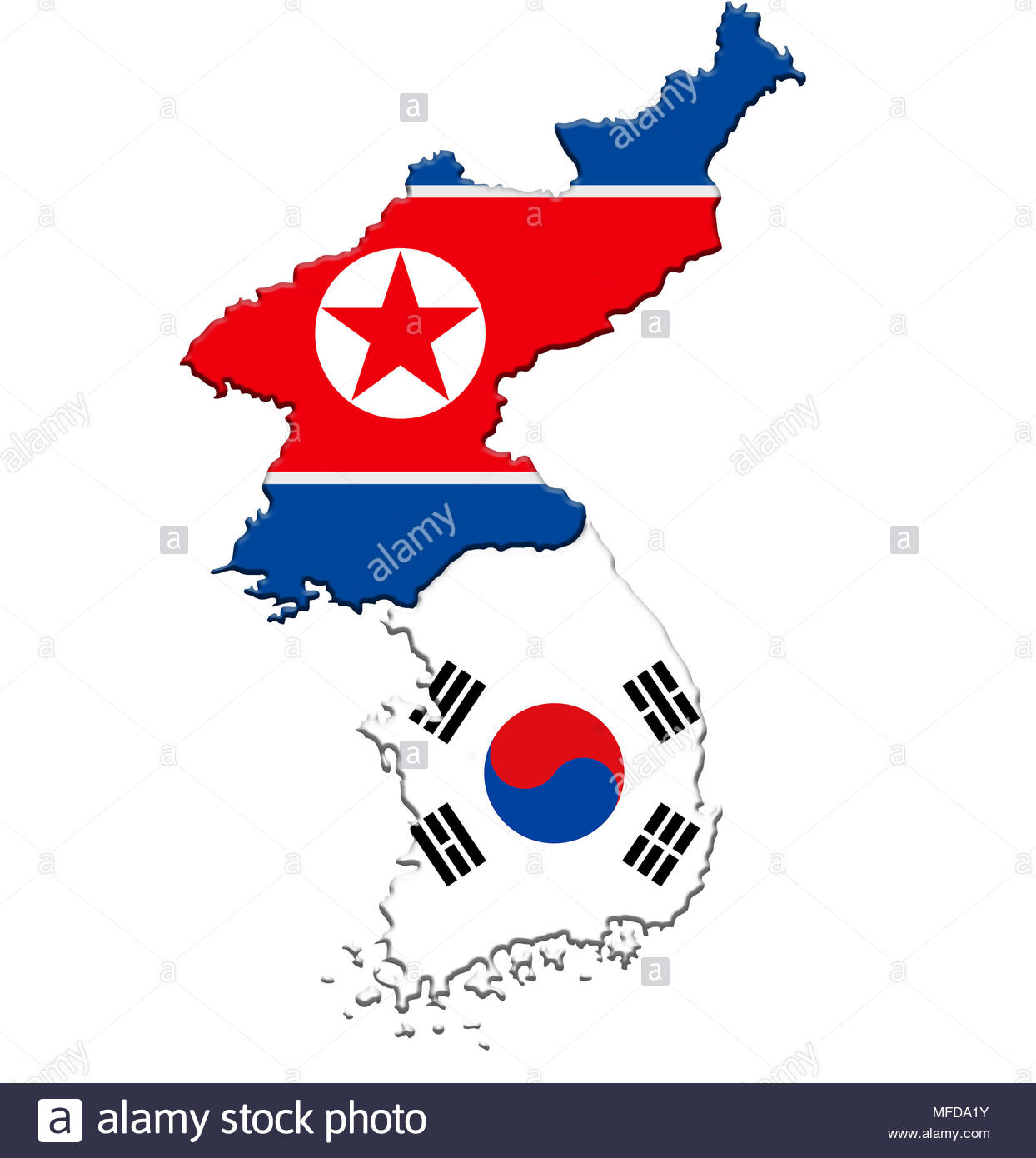 North Korea and South Korea - map flag icon Stock Photo: 181616791 ...