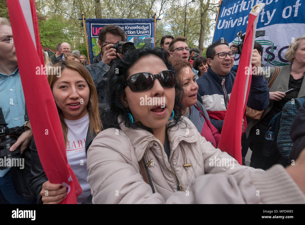 London, UK. 25th April 2018. A noisy rally takes place by workers, students and other trade unionists supporting over 100 cleaners, porters, security officers, receptionists, gardeners, post room staff and audiovisual staff in the Independent Workers Union of Great Britain - IWGB at the end of the first day of a two day strike at the University of London central administration. The workers, employed by various outsourcing companies are demanding to be directly employed by the University, and receive the same conditions and benefits as directly employed colleagues; outsourced workers receive wo - Stock Image