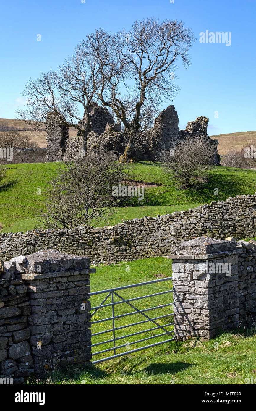 The 12th century ruins of Pendragon Castle in Wenslydale in the Yorkshire Dales National Park in northeast England. - Stock Image
