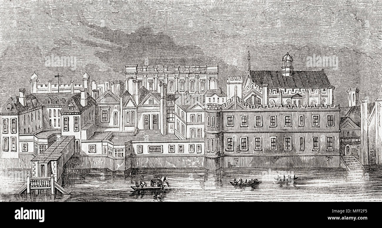 The Palace of Whitehall, Westminster, London, England as it appeared before  the fire of 1691. From Old England: A Pictorial Museum, published 1847.