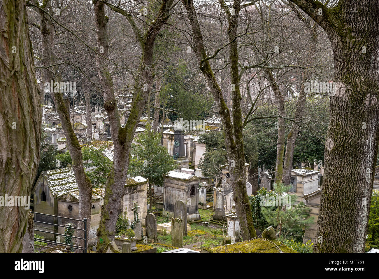 Mausoleum's or family tombs in Père Lachaise cemetery, the largest and most visited cemetery  in ParisStock Photo