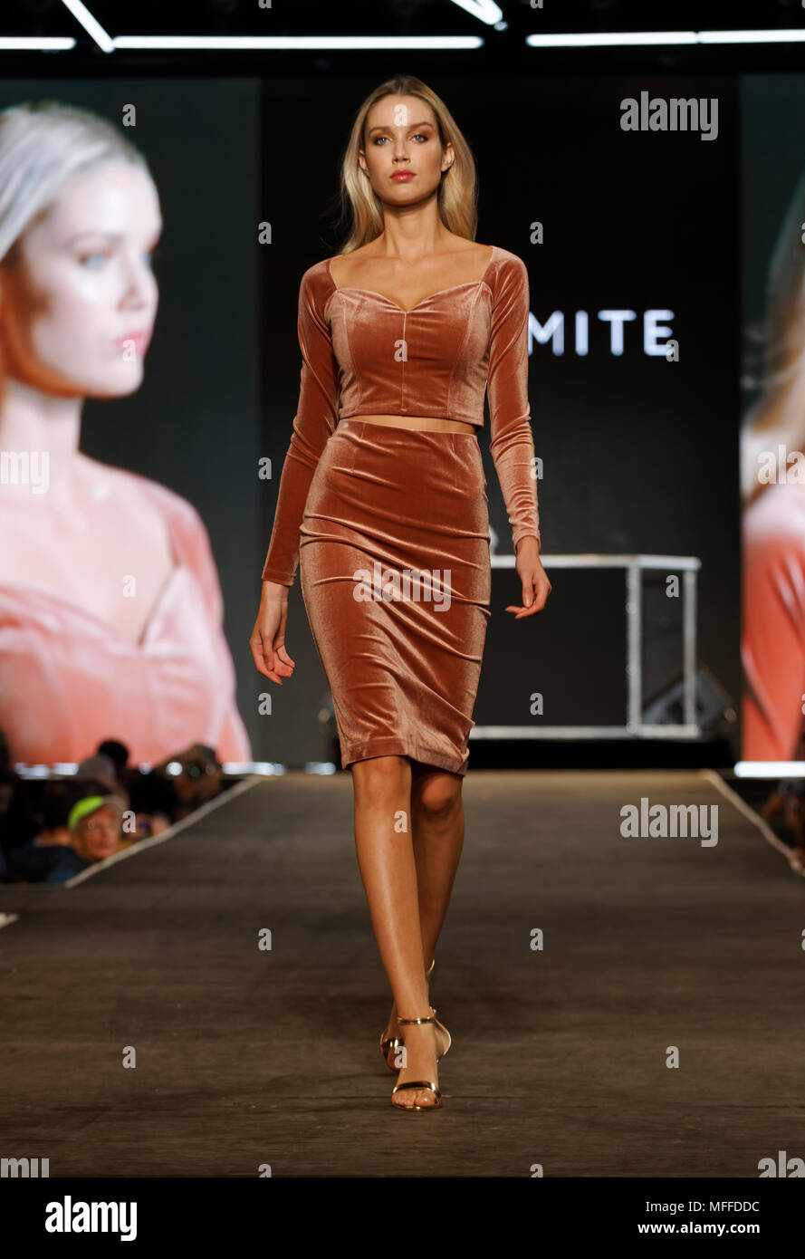 Montreal,Canada.  A model wallks on the runway at the Dynamite Fall preview fashion show held during the Fashion and Design Festival. - Stock Image