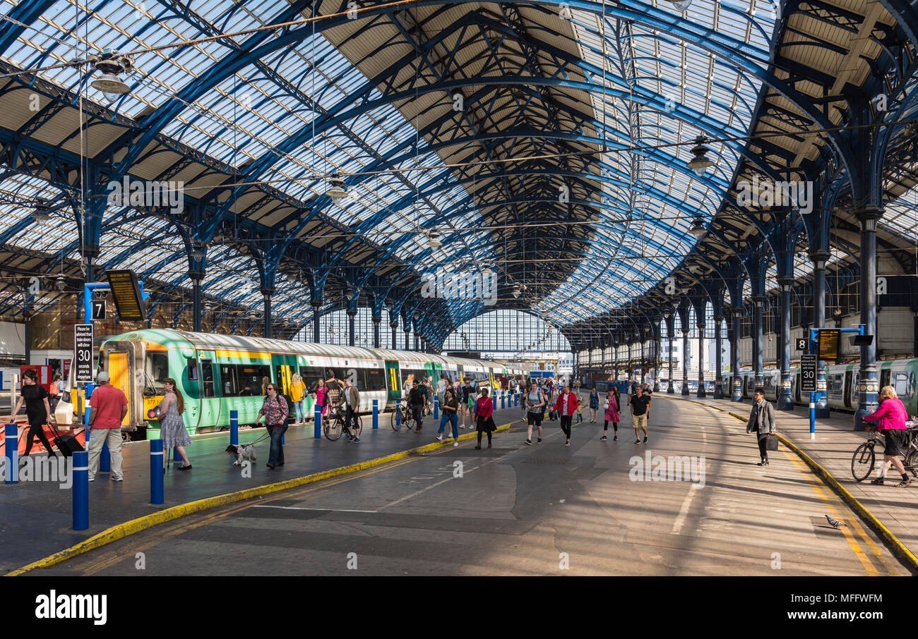 Brighton railway station, an old historic British train station, a terminus station in Brighton, East Sussex, England, UK. - Stock Image