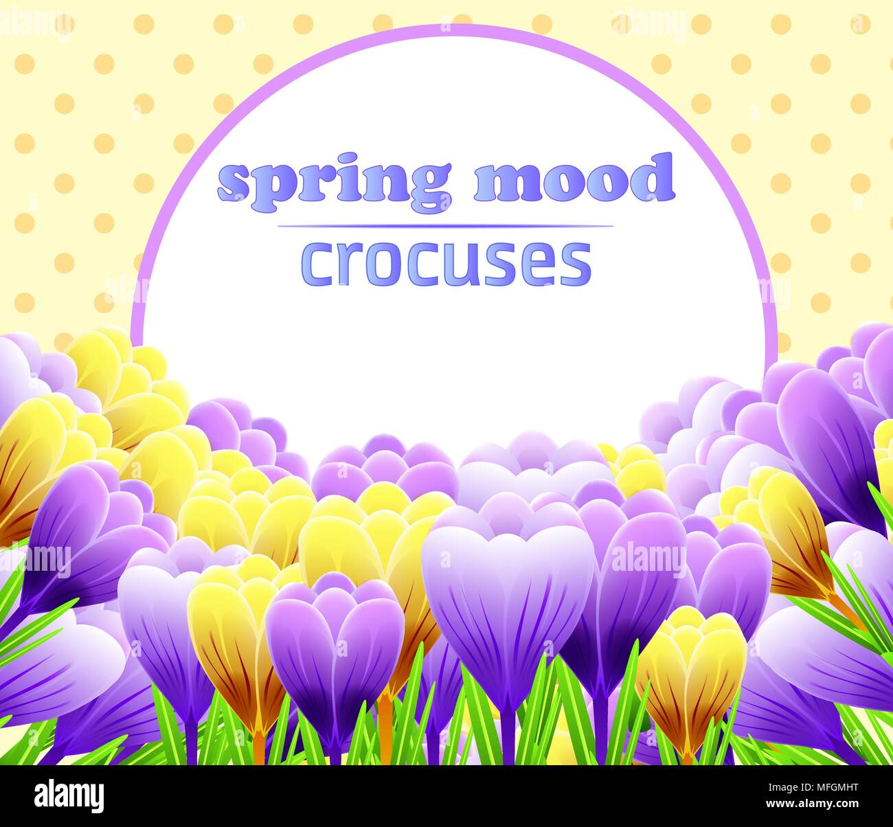 Card With Crocuses Spring Flower Perfect For Wedding Greeting Or