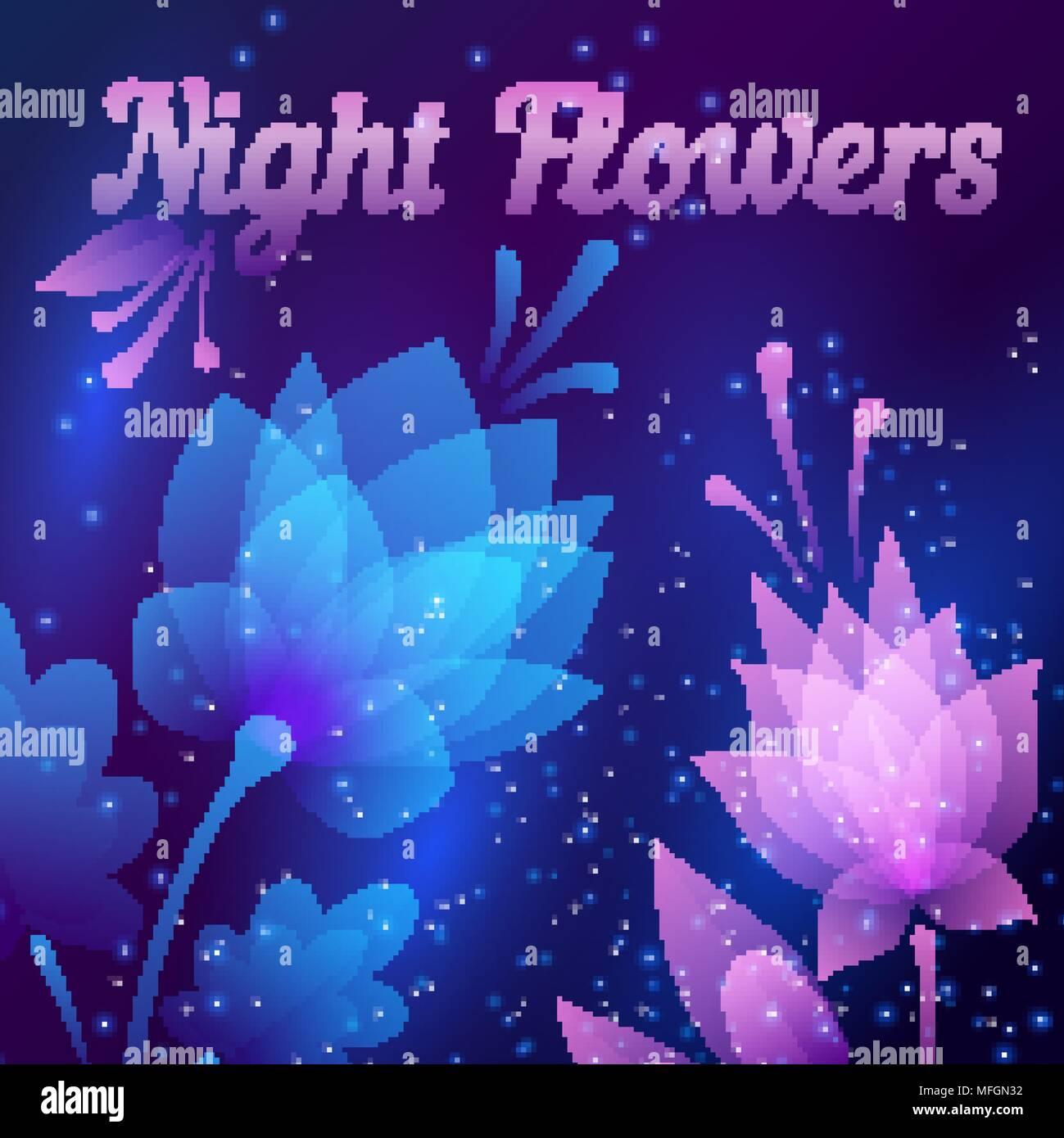Beautiful futuristic night flowers abstract card vector beautiful futuristic night flowers abstract card vector illustration izmirmasajfo