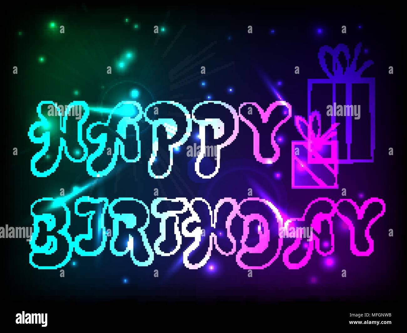 Birthday Postcard With Birthday Greetings With Neon Glow Effect