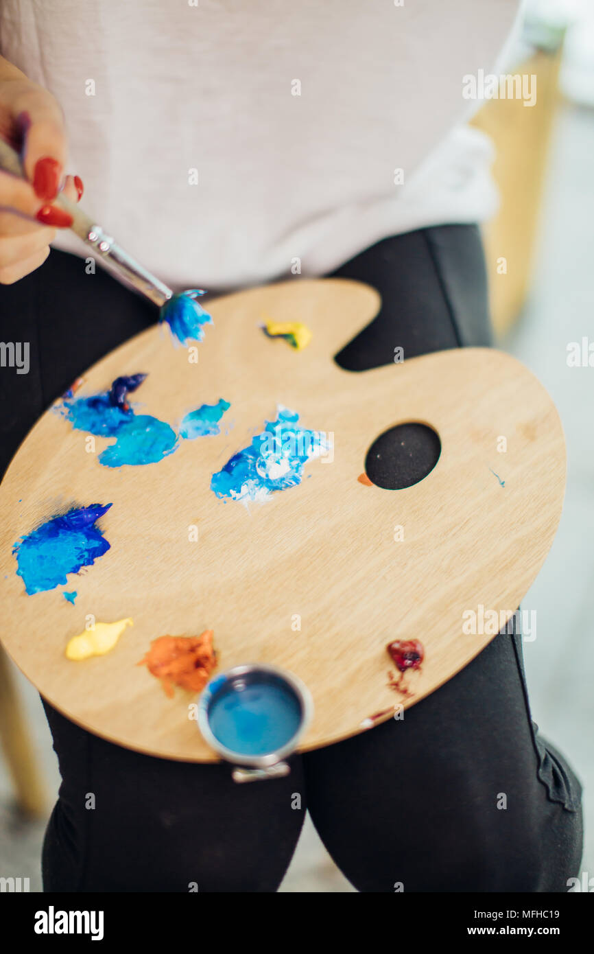 Mix color oil painting on wooden palette closeup Stock Photo ...