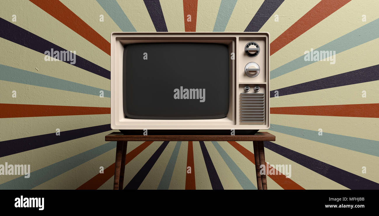 Retro old tv on a table, circus vintage wall background. 3d ...