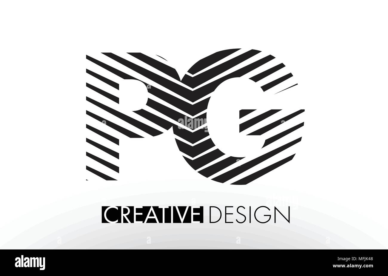 Pg P G Lines Letter Design With Creative Elegant Zebra Vector