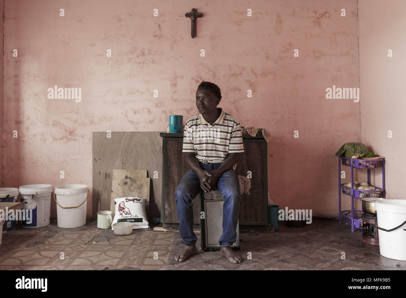 January 13 2018 Matatiele Eastern Cape South Africa Kagiso Wiring A House In 35 Sits His Mud Which Serves As Kitchen And Sleeping Room For Him