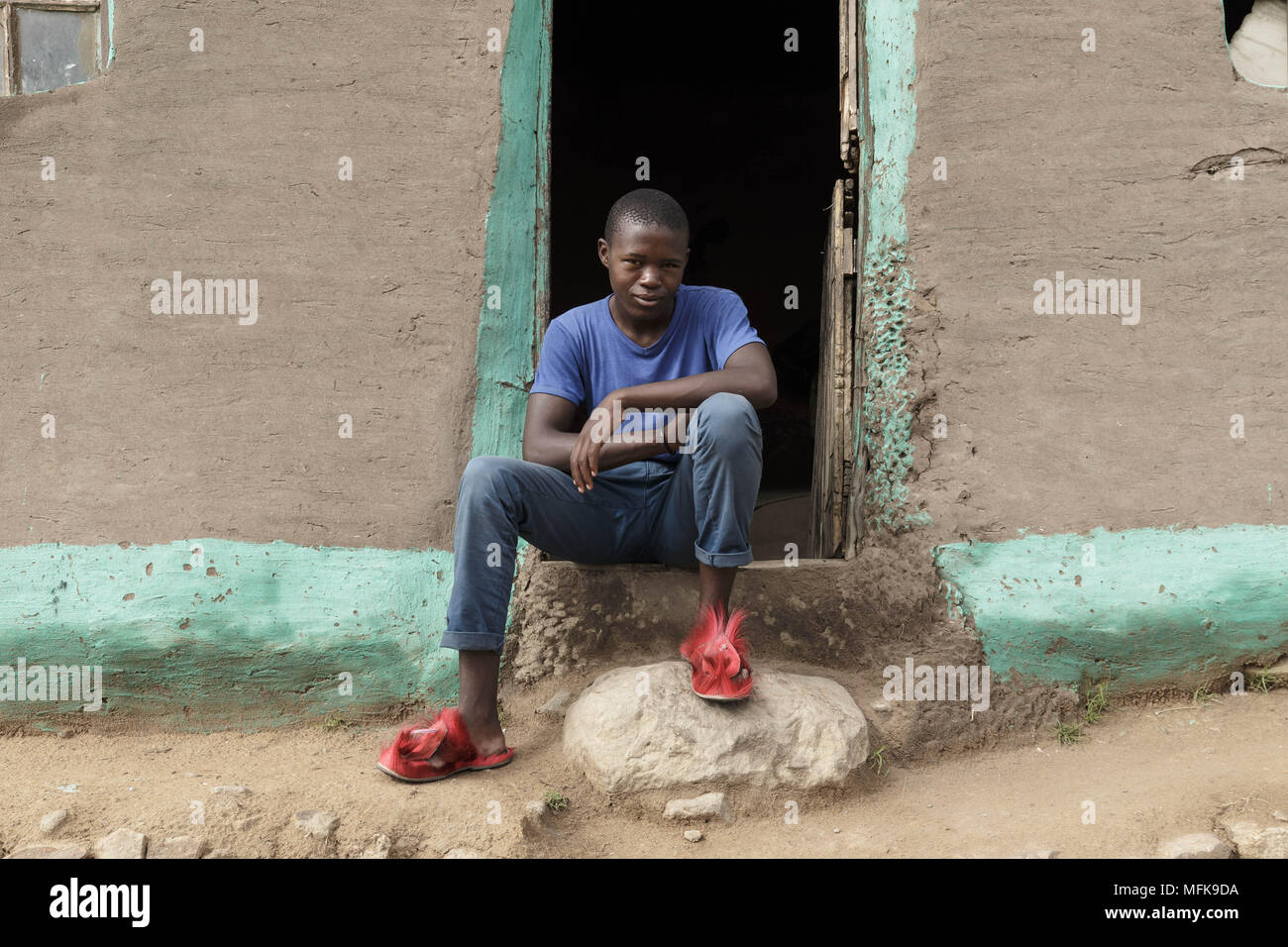 January 13 2018 Matatiele Eastern Cape South Africa Thebo 20 Wiring A House In Sits Front Of His Mud He Dropped Out School And Sells Cannabis