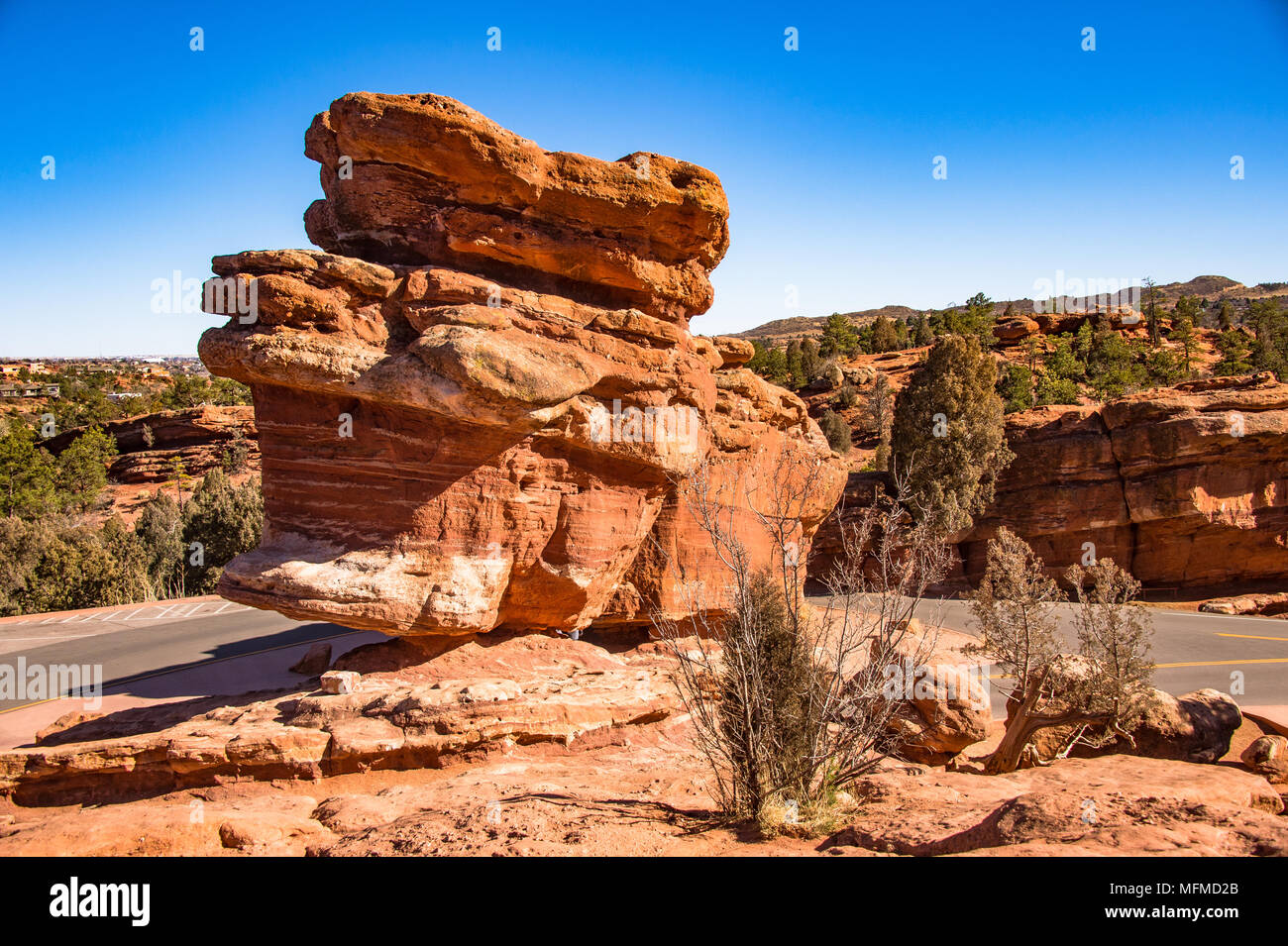 Balanced Rock and Steamboat Rock at the Garden of the Gods in ...
