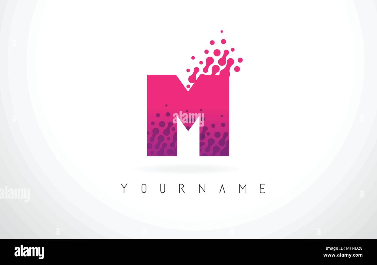 M Letter Logo with Pink Letters and Purple Color Particles Dots ...