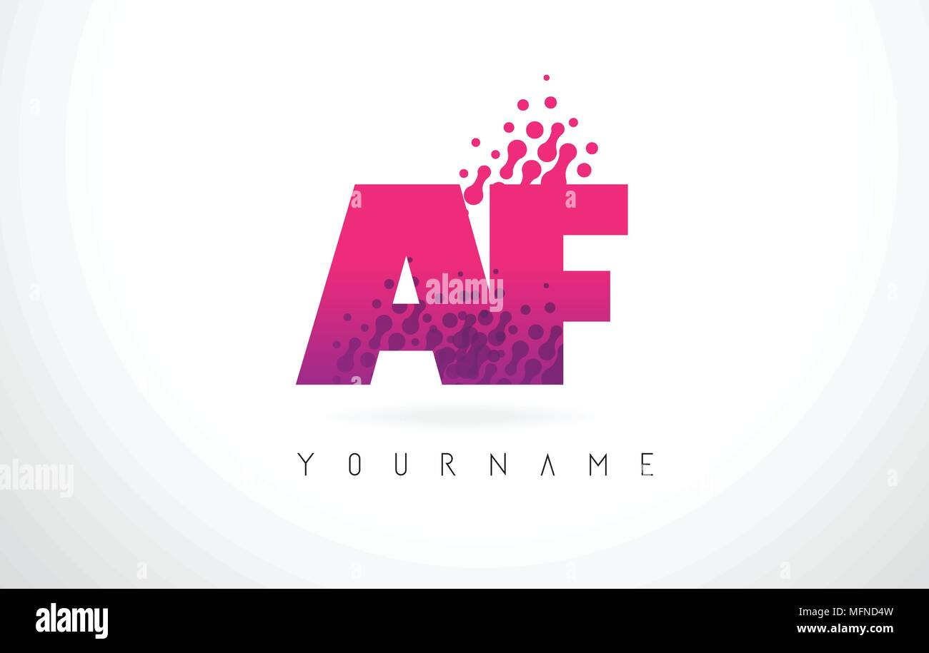 AF A F Letter Logo with Pink Letters and Purple Color Particles Dots ...