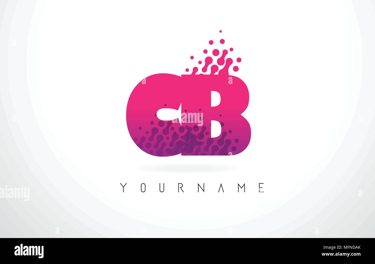 CB C B Letter Logo with Pink Letters and Purple Color Particles Dots ...