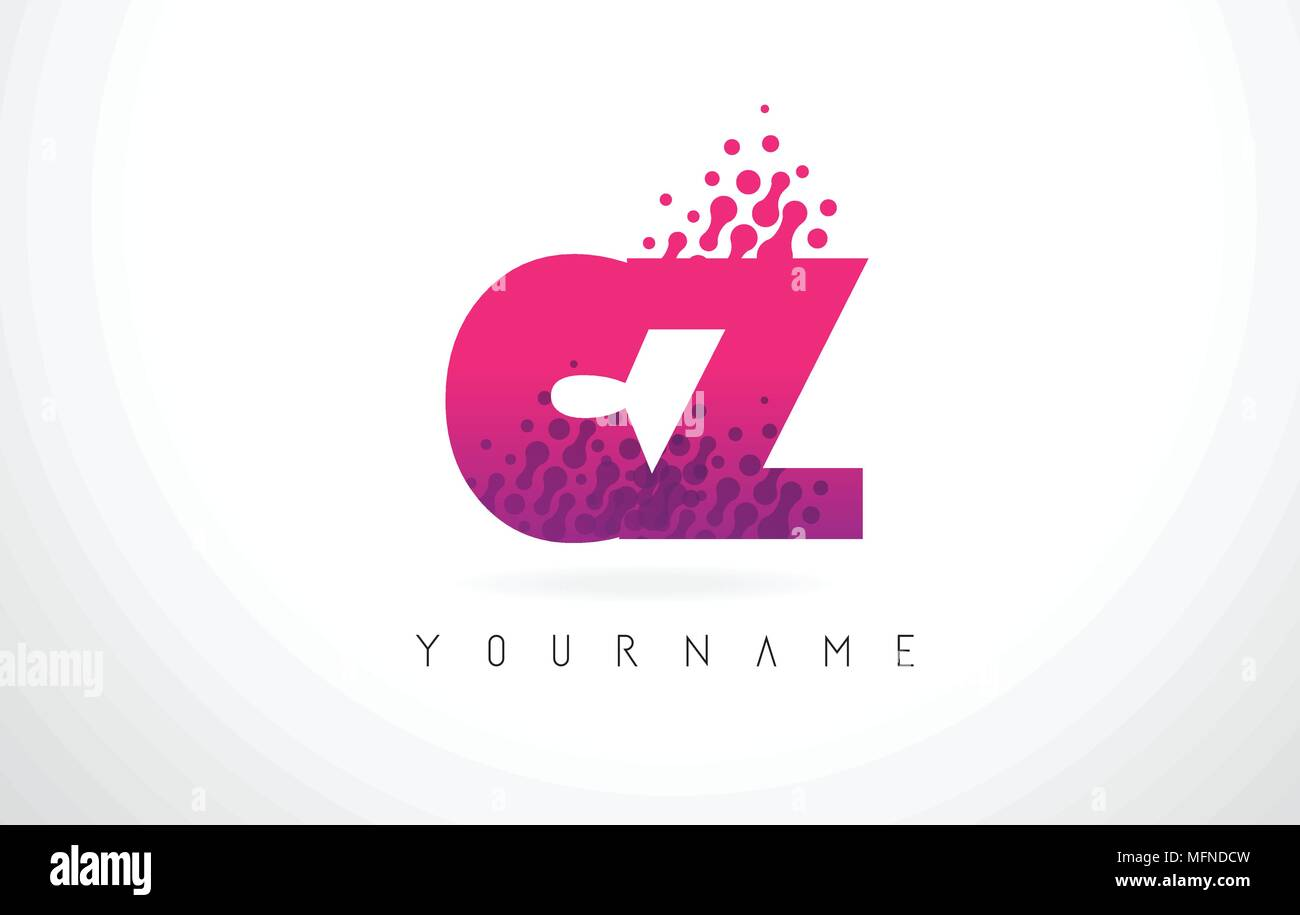 CZ C Z Letter Logo with Pink Letters and Purple Color Particles Dots ...
