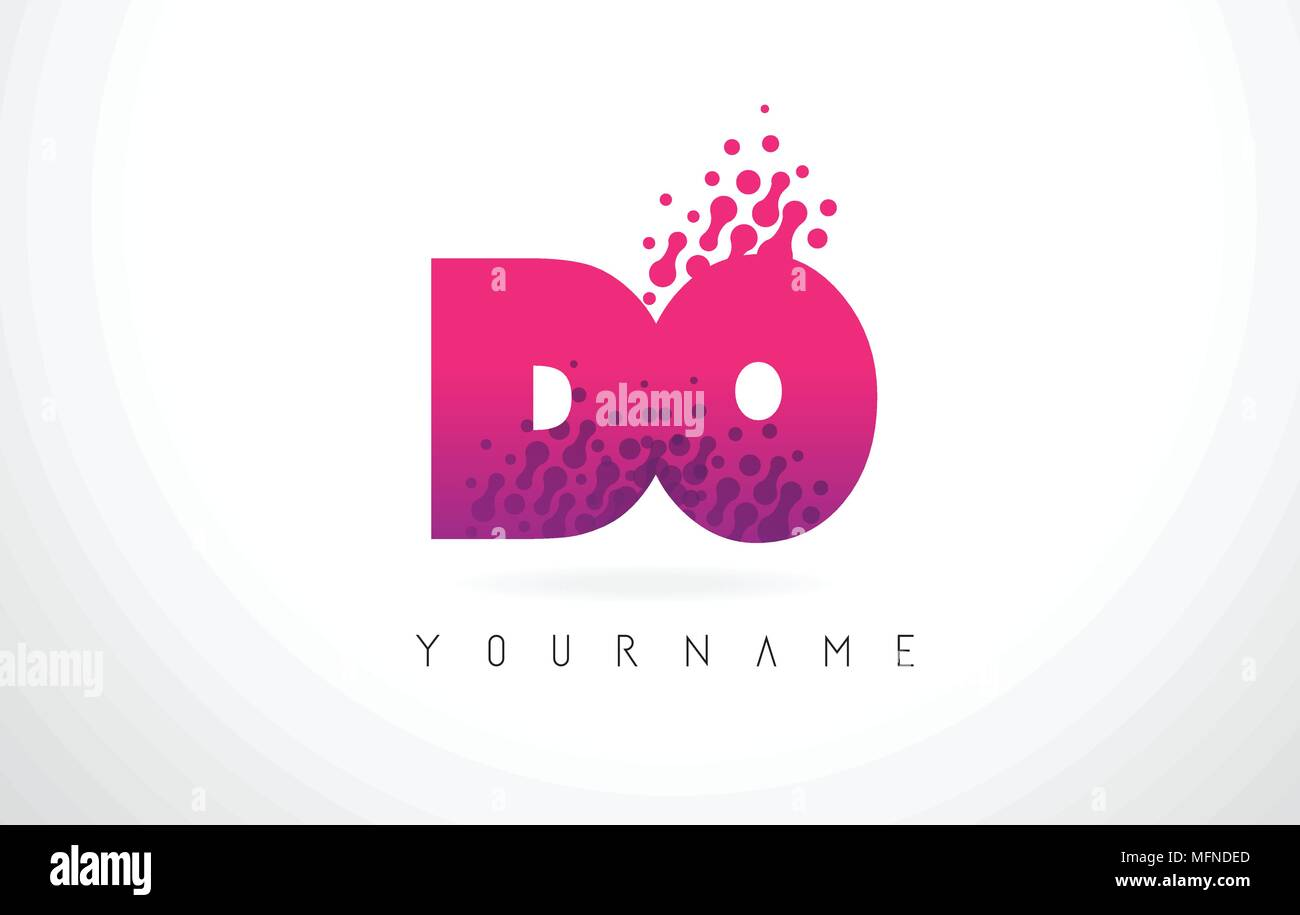 DO D O Letter Logo with Pink Letters and Purple Color Particles Dots ...