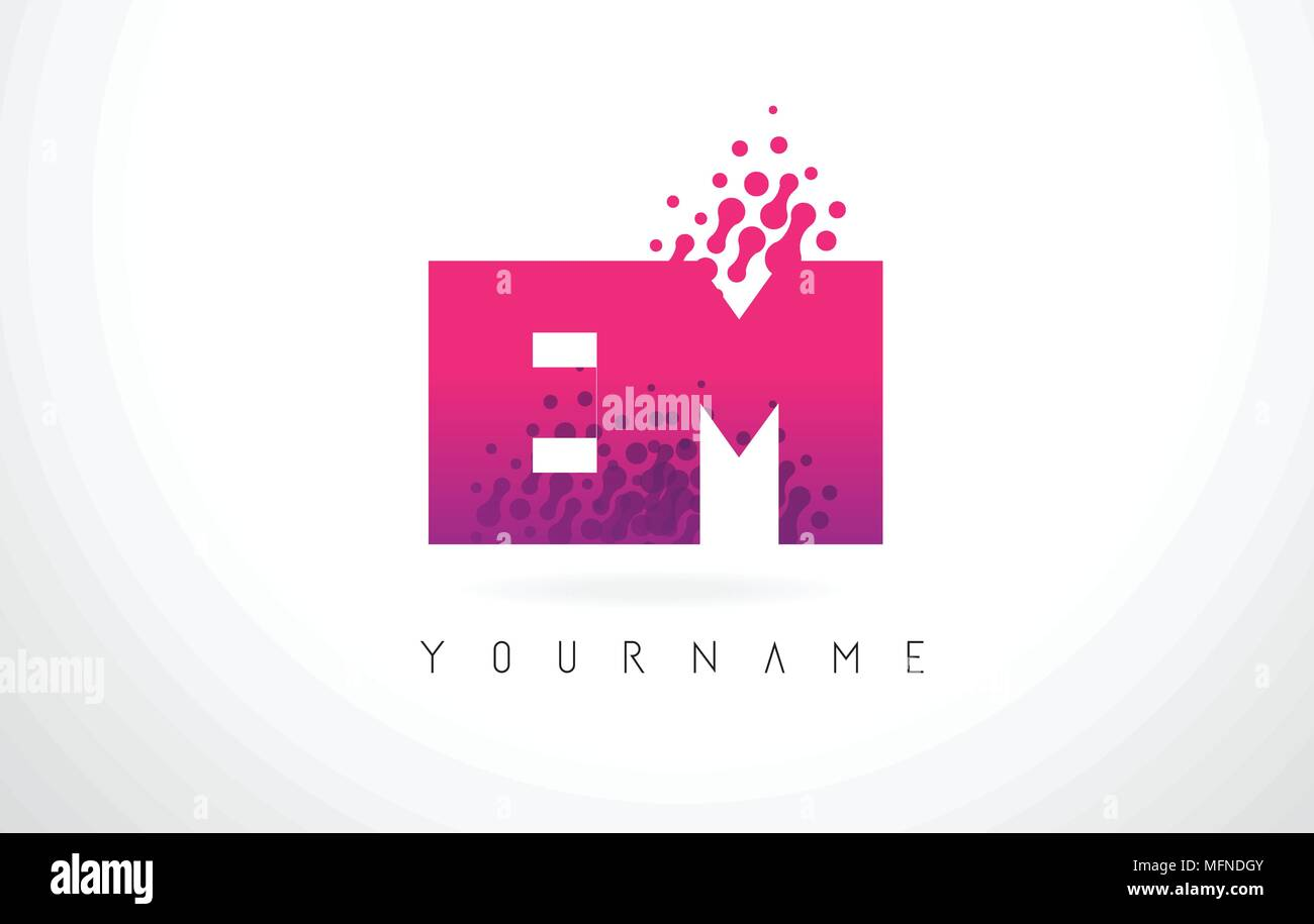 EM E M Letter Logo with Pink Letters and Purple Color Particles Dots ...