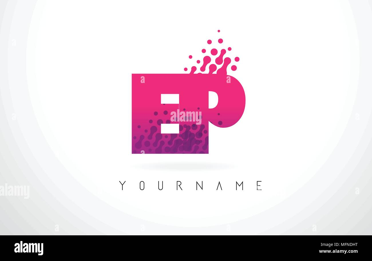 EP E P Letter Logo with Pink Letters and Purple Color Particles Dots ...