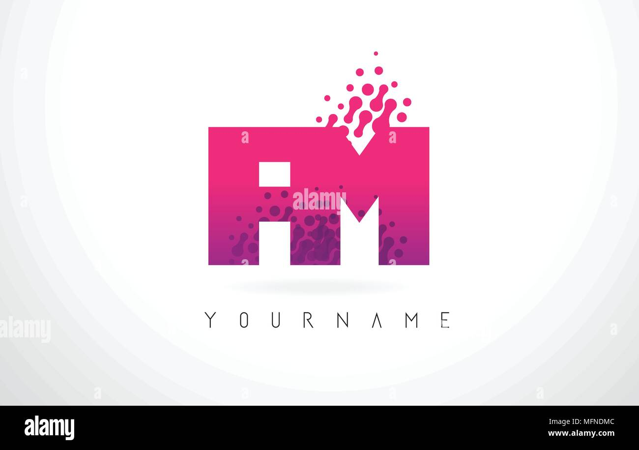 FM F M Letter Logo with Pink Letters and Purple Color Particles Dots ...