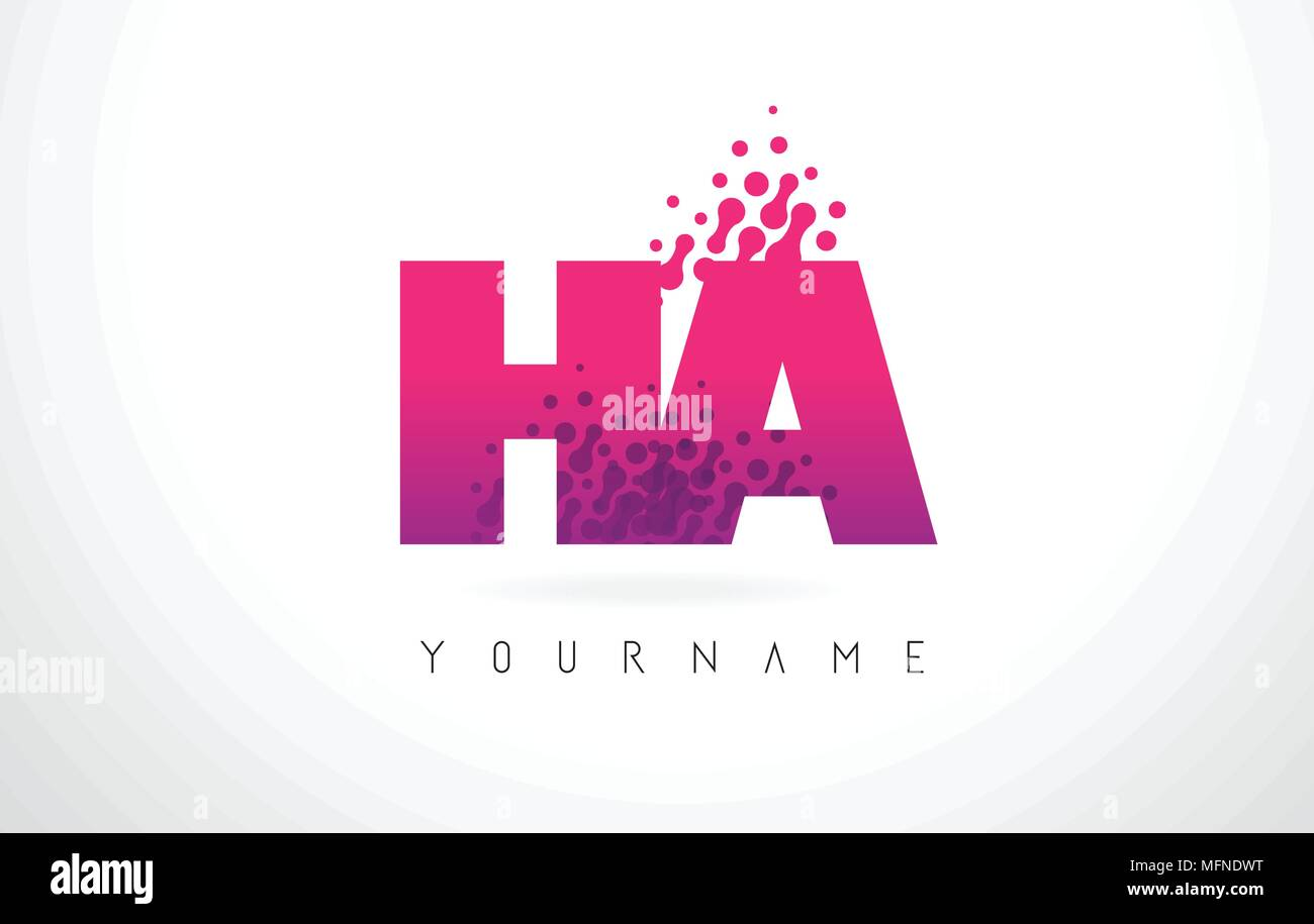HA H A Letter Logo with Pink Letters and Purple Color Particles Dots ...