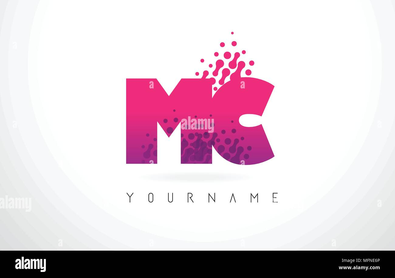 MC M C Letter Logo with Pink Letters and Purple Color Particles Dots ...