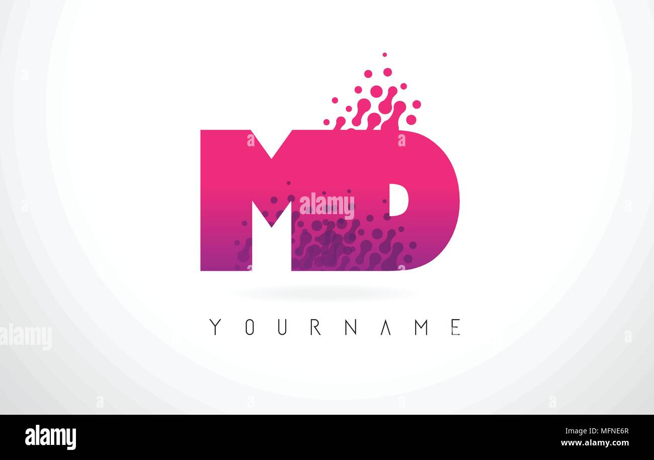 MD M D Letter Logo with Pink Letters and Purple Color Particles Dots ...