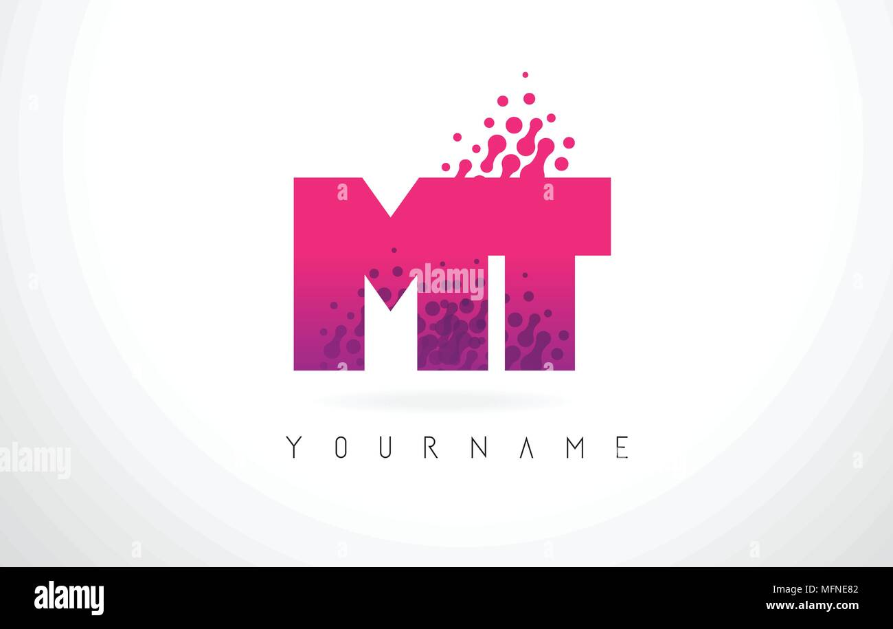MT M T Letter Logo with Pink Letters and Purple Color Particles Dots ...