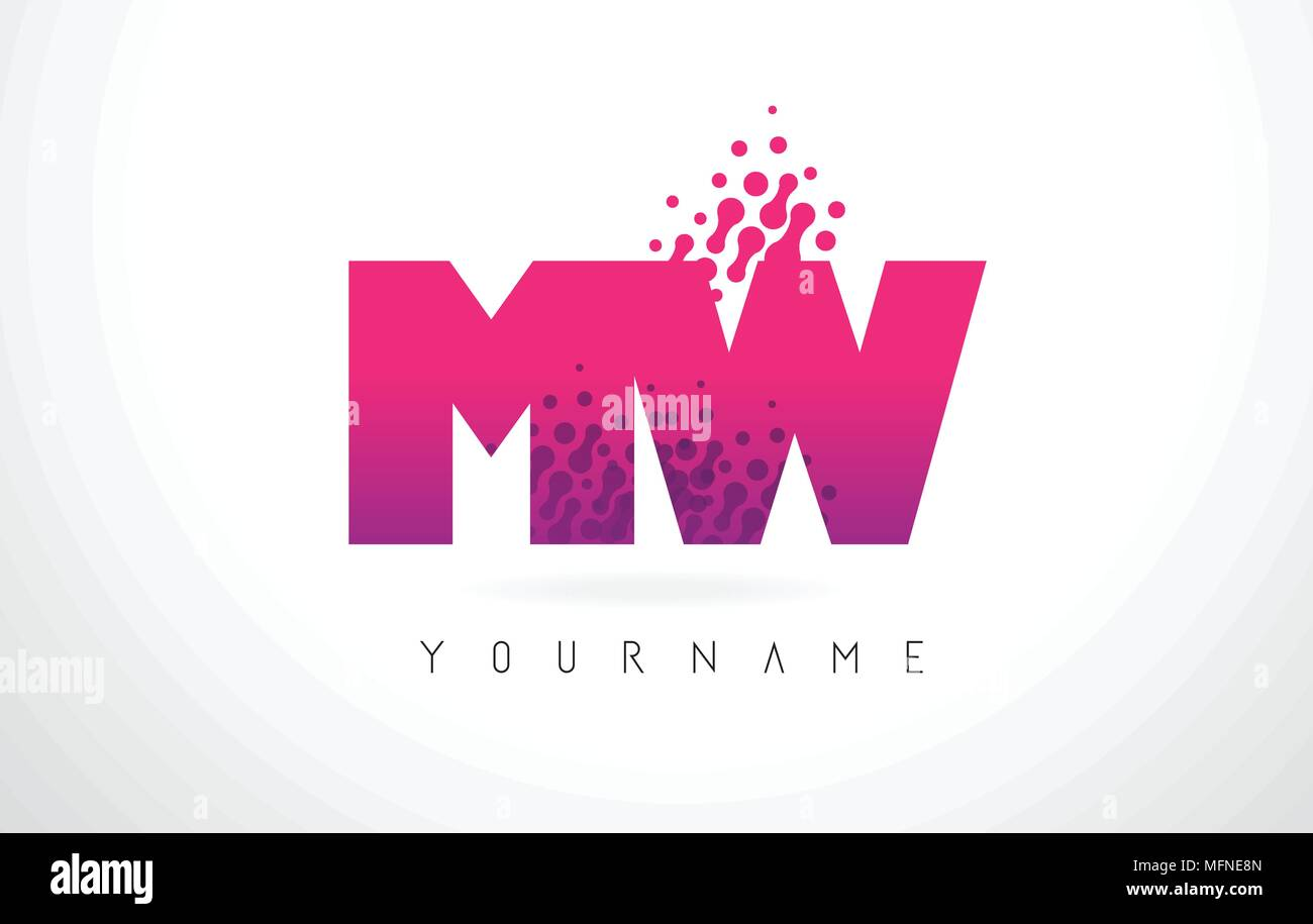 MW M W Letter Logo with Pink Letters and Purple Color Particles Dots ...