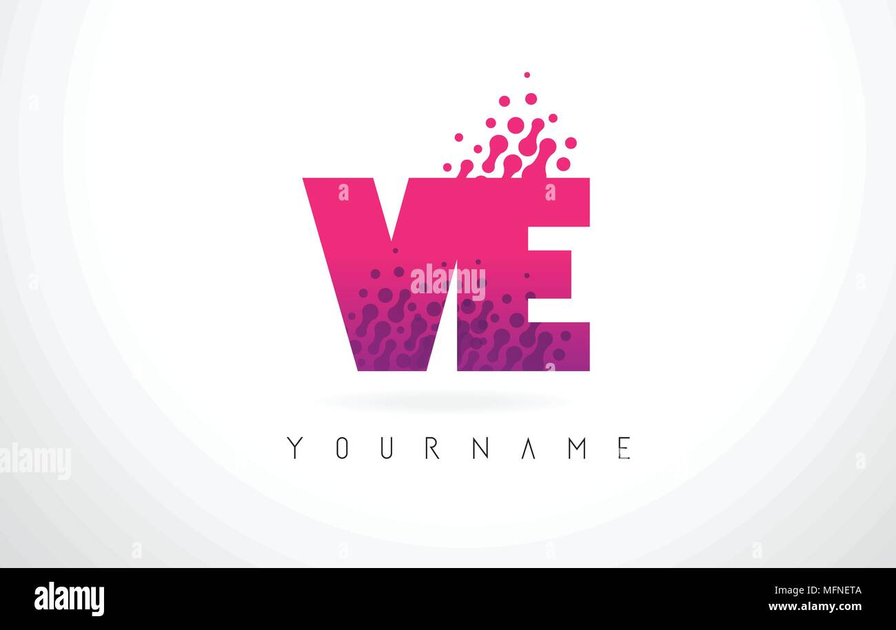 VE V E Letter Logo with Pink Letters and Purple Color Particles Dots ...