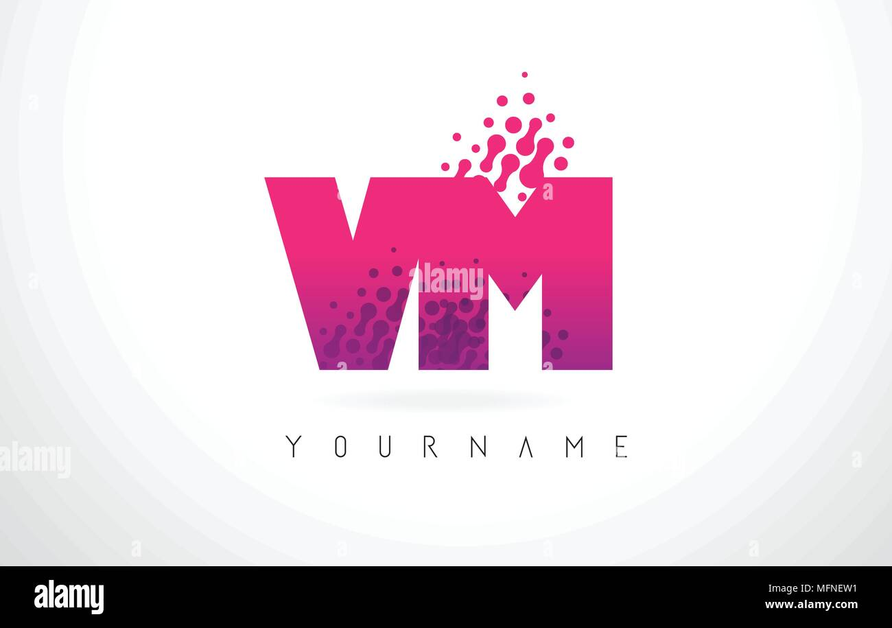 VM V M Letter Logo with Pink Letters and Purple Color Particles Dots ...